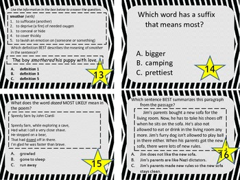 3rd, 4th, 5th Grade Common Core Comprehensive Reading Review Task Cards Set 2
