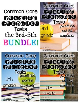 3rd, 4th, 5th Grade Common Core Connected Reading Response Tasks BUNDLE