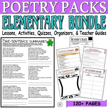 3rd-5th Grade Common Core ELA Test Prep Poetry Quiz/Lesson BUNDLE (3 Poems)