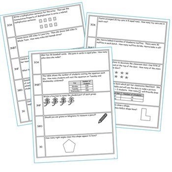 3rd, 4th, 5th Grade Daily/Weekly Spiral Math Review - Common Core {BUNDLE}