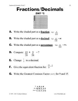 Fractions & Decimals Worksheets - Daily Math Practice {30 Weeks of  Instruction}
