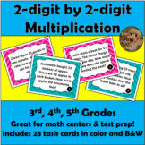 2 Digit by 2 Digit Multiplication Word Problems: Grades 3-5 Math Task Cards
