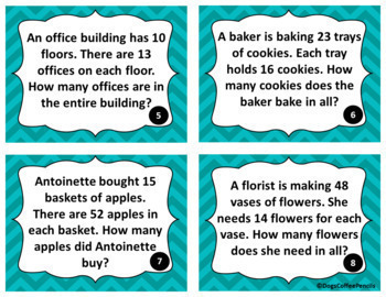 2 digit by 2 digit Multiplication Word Problems Grades 3-5 Math Task Cards