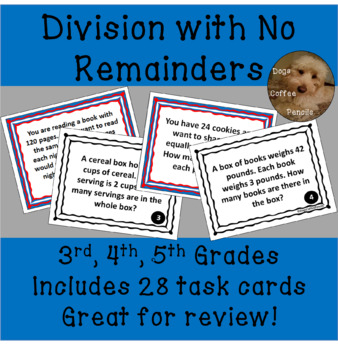 4th Grade Division Word Problems Math Task Cards