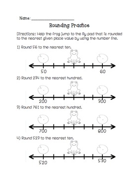 Rounding Worksheets with Frogs - 3rd, 4th, & 5th Grade Common Core Aligned