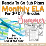 3rd 4th 5th Grade Summer Review Sub Plans Activities for ELA. June July August.