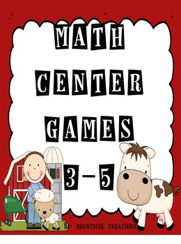 Math Center Games 3rd, 4th, 5th grades