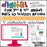 3rd & 4th Grade Back to School Digital Math Centers Google