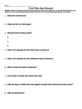 3rd - 4th Grade Civil War Review