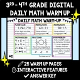 3rd - 4th Grade Digital Daily Math Warm Up - Distance Learning