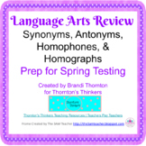 3rd & 4th Grade ELA CRCT Review Synonyms, Antonyms, Homophones, & Homographs