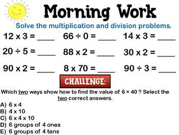 3rd & 4th Grade Math Morning/Warmup Work