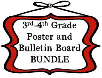 3rd-4th Grade Math Poster and Bulletin Board BUNDLE Based