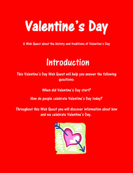 3rd, 4th Grade Valentine's Day Web Quest