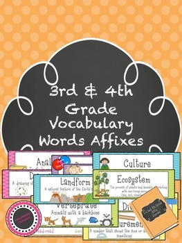 3rd & 4th Grade Vocabulary Affixes