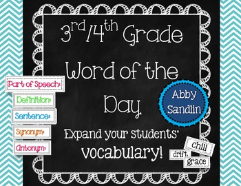 3rd / 4th Grade Word of the Day Bulletin Board Set with 140 Vocabulary Cards