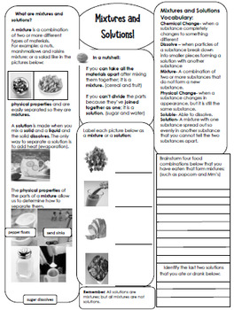 Mass, Matter, Mixtures & Solutions Interactive Notebook, Lessons, Writing & More