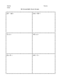 3rd, 4th, and 5th Grade Math Quick Screen Assessment
