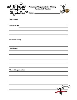 3rd 4th and 5th grade Persuasive Writing Template