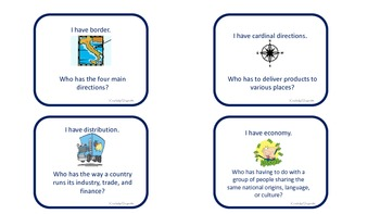 3rd & 4th grade Social Studies Academic Vocabulary (I Have, Who Has?)