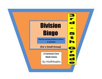 3rd - 5th Grade Division Bingo Game for Common Core
