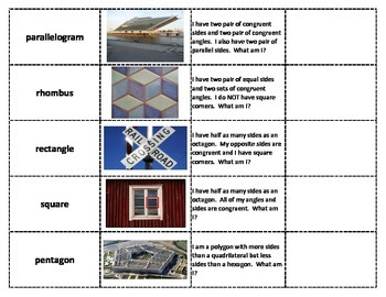 3rd-5th Grade Geometry Attribute Cards