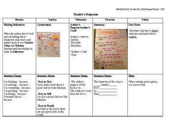 3rd-5th Grade Reader's Weekly Response