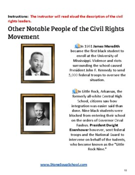"3rd - 5th Grade ""US Civil Rights Time-line"" for Students w/ Visually Impairments"
