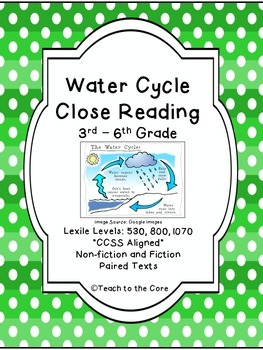 Water Cycle Close Reading - 3rd-6th Grade - **CCSS Aligned
