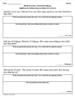 (3rd 9 Weeks) 1st Grade Common Core Math Worksheets [BUNDLED]