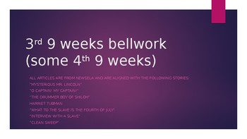 3rd 9 Weeks Bellwork with some 4th 9 Weeks