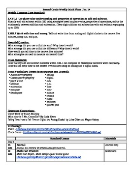(3rd 9 Weeks) Lesson Plans for 2nd Grade Math Common Core