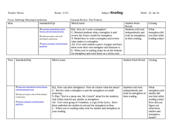 3rd 9 weeks Reading Lesson Plans