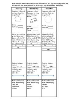 3rd 9 weeks homework for 2nd grade