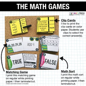 3rd - Arithmetic Patterns Math Centers - Math Games