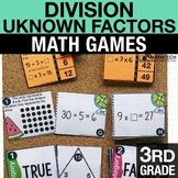 3rd - Division as Unknown Factor Problems Math Centers - M
