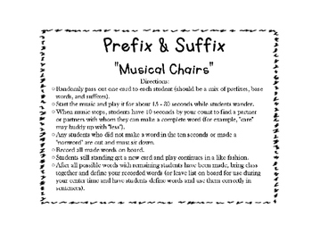 "3rd ELA CCSS Grade RF.3.3 - Prefix / Suffix ""Musical Chairs"" Game / Activity"