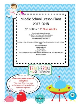 3rd Edition MS Sped. Lesson Plans * 2017-2018 1st 9 Weeks ONLY