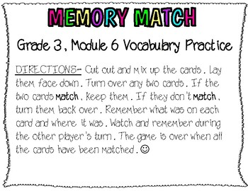 3rd, Eureka Math- Memory Match (Vocabulary Practice for Module 6)
