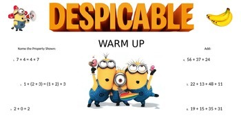 3rd GRADE MATH DAILY WARM UP - MINIONS (DESPICABLE ME)