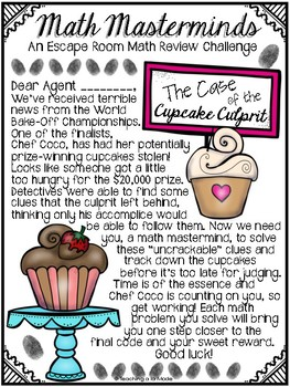 3rd GRADE Math Masterminds Escape Room FRACTIONS REVIEW - Cupcake Culprit