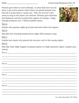 3rd GRADE SCIENCE CONSTRUCTED RESPONSE PRACTICE