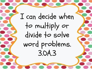 "3rd Gr. CCSS Math ""I Can"" Statements"