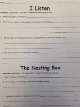 3rd Gr. Wonders Unit 2 Week 5 On Level Poetry - I Listen & The Nesting Box