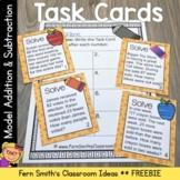 3rd Grade Math Model Addition & Subtraction Task Cards Freebie
