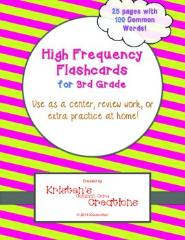 3rd Grade 100 High Frequency Word Flashcards Sentence Fluency