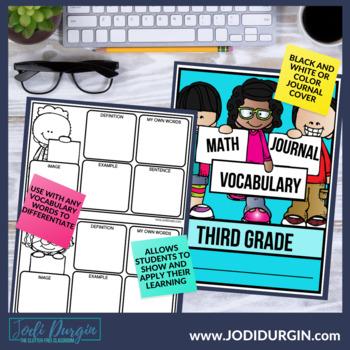 Math Vocabulary Math Vocabulary Cards 3rd Grade Math border=
