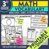 MATH VOCABULARY | MATH VOCABULARY CARDS | 3rd Grade Math V