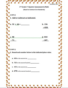 3rd Grade 1st Quarter Common Core Math Assessment (ANSWER