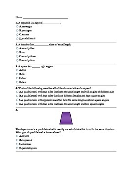 3rd Grade 2-Dimensional Shapes Assessment